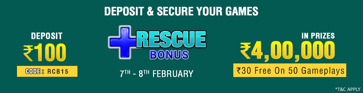 Rescue Bonus Deposit Cashback Contest